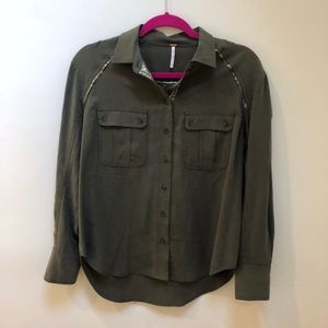 Free people XS army green and gold button down